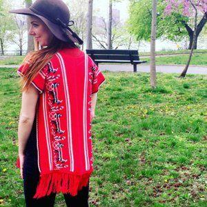 VINTAGE Red Carriage Fringe Vest Poncho